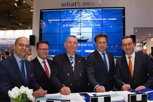 Left to right: Mijndert Wiesenekker, Sales Director Benelux Damen; Pepijn Nuijten, Multraship; Kees Muller, Multraship; Arnout Damen, CCO Damen; and Leendert Muller, Multraship. (Photo: Multraship)