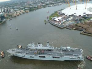 HMS Ocean at Greenwich: Photo credit UK MOD