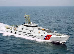 Artist's concept drawing of the Bollinger built Fast Response Cutter Sentinel Class for the United States Coast Guard.