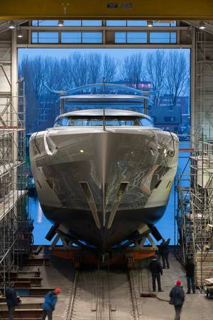 Megayacht Como launch: Photo courtesy of Feadship