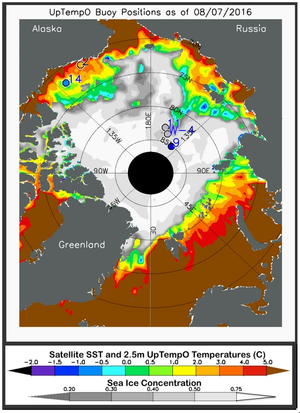 Average sea surface temperature measured by satellites using thermal emission sensors, which produce global data adjusted after comparison with ship and buoy data, and sea ice concentration derived from NSIDC near-real-time data for August 7, 2016. Also shown are drifting buoy temperatures at the ocean surface (colored circles); gray circles indicate that temperature data from the buoys are not available. (Credit: M. Steele, Polar Science Center/University of Washington)