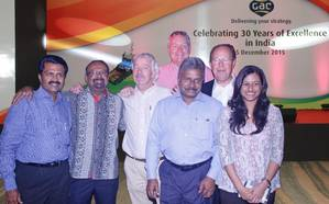 (From left) Anil Menon, Director of GAC India, Shashi Nair, Consultant of GAC India, Paul Haegeman, Managing Director of GAC India, Andrew Leach, Group Vice President, Legal & Compliance of GAC Group, Roy Mathews, Chairman of GAC India, Lars Safverstrom, Co-Chairman of GAC Group and Miriam Mathews, Director of GAC India.
