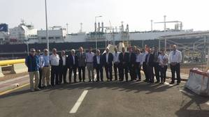 GAC Jordan Managing Director Ghassoub Kawar and Deputy General Manager, Ibrahim Attieh along with  Lars Egeberg - Project Manager, Tor Jahren – Fleet Manager, Capt. Ivica Mirovic and other members of Golar Eskimo and GAC Jordan at the Aqaba port.