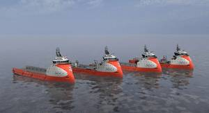 The vessels for Golden Energy Offshore are modern, high-spec, medium-sized PSVs based on the proven PX121 design. They have excellent station keeping capabilities, very low fuel consumption and enhanced environment profile. (Ship illustration courtesy of Ulstein)