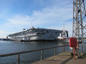 HMS Queen Elizabeth floating