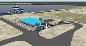 Artists Depiction: the Harvey Gulf LNG Fuleing facility in Port Fourchon, LA.