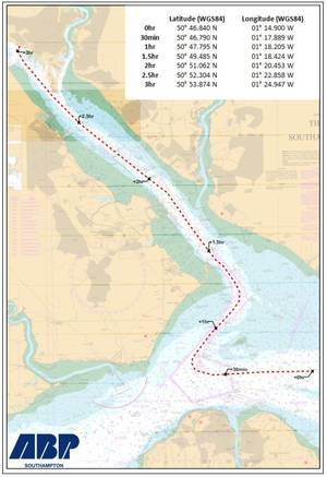 The map shows the route the vessel will take and the timings for the journey (Image: MCA)