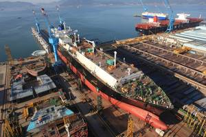Arial view of launching LNG Carrier built on-ground