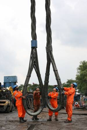 Heavy lift slings being mobilized for a short-term rental project from Gaylin's Vietnam facility (Photo: Gaylin)