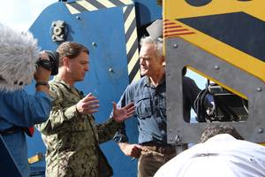Captain Gregg W. Baumann discusses with CBS '60 Minutes' anchor Scott Pelley  the technology to be deployed in the search for El Faro. The feature El Faro spot aired on CBS on Sunday, January 3, 2016.  If you missed it, view the 60 Minutes video here:http://www.cbsnews.com/videos/lost-in-the-bermuda-triangle  (Courtesy of U.S. Navy/CBS '60 Minutes')