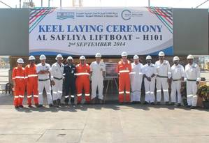 N-KOM & Gulf Drilling International senior management and project teams at keel laying ceremony of liftboat Al Safliya (H101) held at the N-KOM Shipyard in Qatar