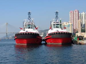 RT Endeavour and RT Discovery in Hong Kong awaiting deployment to Western Australia