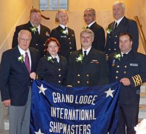 New officers (both elected and appointed):  Front, L to R:  (Elected Officers) Grand Secretary-Treasurer George Skuggen, Grand 2nd Vice President Rebecca Hancock, Grand President Tom McMullen, Grand 1st Vice President Seann ODonoughue;  Back, L to R: (Appointed officers) Grand Marshal Joe Walters, Grand Chaplain Camilla Ross, Grand Warden Mark Stevenson, Grand Sentinel Mike Pratt. Photo courtesy the ISMA