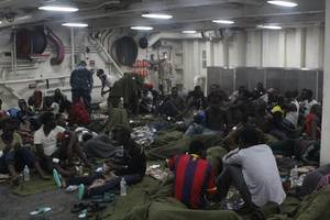 The rescued aboard USS San Antonio: Photo courtesy of USN