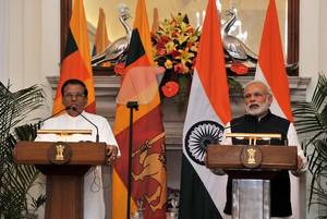 Sri Lankan President Maithripala Sirisena  and Indian Prime Minister Narendra Modi (Press Information Bureau, India)