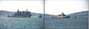 Indian warships INS Aditya (left) and  INS Trishul arrived at Toulon, France. Photos: Indian Navy