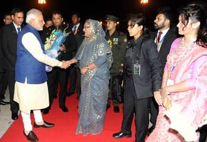 Indian Prime Minister, Narendra Modi and Bangladesh PM Sheikh Hasina. Photo: Press Information Bureau