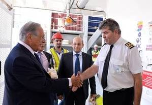 Jacques R. Saadé on board the CMA CGM Columba (Photo courtesy of CMA CGM)