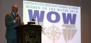 U.S. Maritime Administrator Paul Jaenichen addresses the gathered audience at the 7th annual Women on the Water (WOW) conference.