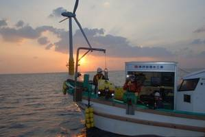 Workboat deploying the Falcon ROV to check the integrity of floating turbine moorings off the coast of Japan