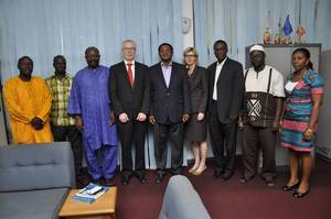 From left: Dr. G. Jaw, Deputy Rector, RMU; E. Jaju, Director of Finance, RMU; A. Saiku, Director of Academic Affairs; H. Kluken, Area Sales Manager, Kongsberg Maritime; Capt. A. Turkson, Rector, RMU; Tone-Merete Hansen, Global Sales Manager, Kongsberg Maritime; A. Addy-Lamptey, Dean of Faculty of Engineering, RMU; D. Fofana, Procurement Officer, RMU and Akua D. Asare-Adei, Accounts Officer, RMU