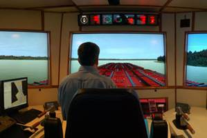 The full-mission, full-bridge towboat wheelhouse simulator at Kirby's training center (Photo courtesy Kirby Corp.)