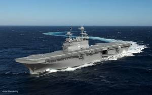 Construction of the amphibious assault ship Bougainville (LHA 8) is scheduled to begin in the fourth quarter of 2018, and delivery is expected in 2024. (Image: HII)