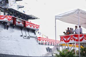 The launching of the fourth Littoral Mission Vessel - Justice, built by ST Marine for the Republic of Singapore Navy (Photo: ST Marine)