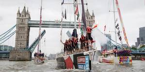 Londons Tower Bridge opens its gates to welcome home fleet of Clipper Round the World yacht race, Saturday, July 30, 2016. Photo: Clipper Round the World Yacht Race