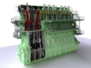 Graphical rendering of the nine-cylinder, 90-cm-bore version of MAN Diesel & Turbo's ME-GI dual-fuel low-speed engine. Within the company's low-speed engine portfolio, the ME-GI engine is officially designated as ME-C-GI (M-type, Electronically Controlled, GI for Gas Injection)