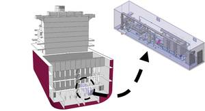 A container-type ballast water treatment system installed. Right: Sketch of the system, packaged in a 40-foot container.