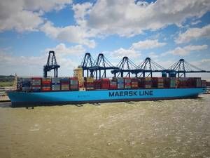 The Madrid Maersk at Felixstowes Berth 8 photographed by Captain Prithvi Singh, SCS pilot at Harwich Haven Authority, who piloted the Madrid Maersk out of Felixstowe.