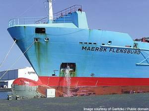 Maersk Flensburg ballasting water. (Source: Maersk Maritime Technology / Public Domain)