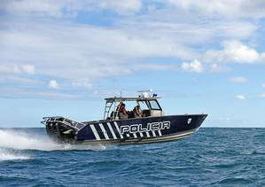The PRPD testing one of its new Metal Shark 36 Fearless patrol boats in the Atlantic Ocean near San Juan, Puerto Rico. (Photo: Metal Shark)