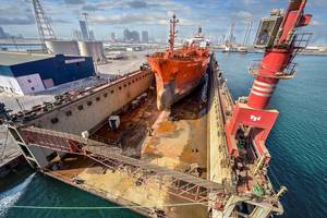 Mid Osprey, a 140m chemical tanker, is undergoing major repairs including the refurbishment of the ship's accommodation. Photo Abu Dhabi Ship Building