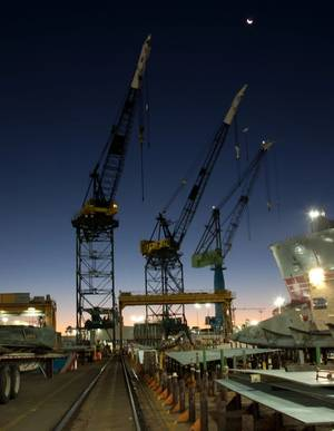 NASSCO shipyard sunrise: Credit NASSCO/Ken Wright.