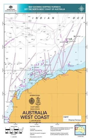 NW Australia Shipping Fairways: Image credit AMSA