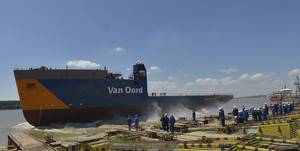 Van Oord's new DP2 cable-laying vessel Nexus was launched at Damen Shipyards Galati (Photo courtesy of Damen)