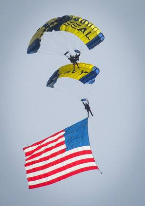 Official U.S. Navy file photo of the U.S. Navy parachute demonstration team, the Leap Frogs.