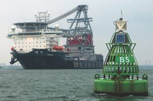 leg  Strashnov, a crane vessel  on approach Rotterdam.
