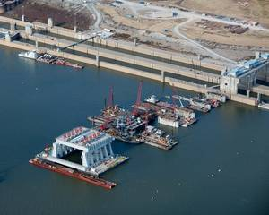 The $2.918 billion Olmsted Lock and Dam Project will reduce tow and barge delays through the busiest stretch of river in America's inland waterways. (Photo: U.S. Army Corps of Engineers)
