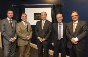 The opening ceremony. From Left to Right: Knut Ørbeck-Nilssen, CEO of DNV GL – Maritime, Professor Sir Jim McDonald, Principal and Vice-Chancellor, University of Strathclyde, Kitak Lim, IMO Secretary General, Professor Dracos Vassalos, Professor of Maritime Safety and acting director at the Maritime Safety Research Center, and Harri Kulovaara – Executive VP of Maritime and Newbuilding RCCL. (Photo: DNV GL)