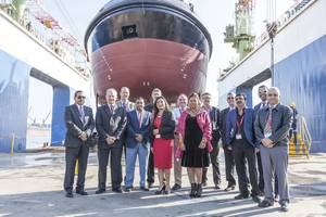 TNPA's new tug, OSPREY, was launched and named at the Southern African Shipyards premises in Durban, South Africa.  (Photo: TNPA)