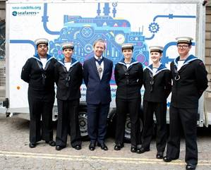 The Lord Mayor was joined by Sea Cadets at the launch of the Marine Engineering Pathway project at Seafarers UK's Annual Meeting in Mansion House on June 15. (Photo: Seafarers UK)