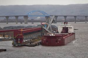 Bulk carrier vessel Paul R. Tregurtha at Superior Midwest Energy Terminal on December 14, 2015. (Photo:  Chris Mazzella)