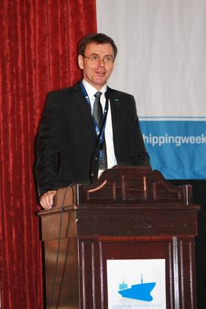 Tor Svensen, CEO of DNV GL – Maritime, outlined three priority areas that will drive shipping in the decades to come in his keynote speech on innovation at the European Shipping Week in Brussels. (credit: ESW)