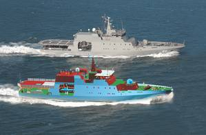 Photomontage of a patrol vessel and its FORAN 3D model.