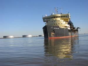 hopper dredge McFarland dredging Southwest Pass in 2010.