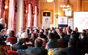 Major General Martin Smith addresses senior shipping industry representatives earlier this week (Photo: Port2Port Maritime)