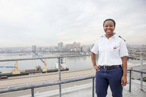 Pinky Zungu has again made history with her appointment as Transnet National Ports Authority's first black female Deputy Harbor Master – Nautical for the Port of Durban. (Photo: Philip Wilson)